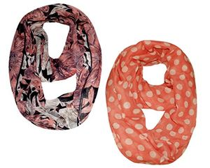 Polka Dot Floral Scarf and Pink Peach