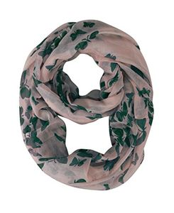 Pink Green Bird Print Butterfly Scarf Sheer Infinity Scarf Circle Scarf