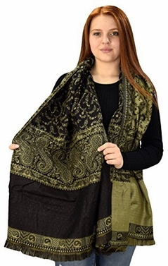 Black-Olive Blanket 4 Ply Reversible Paisley Pashmina Throw Scarf Wrap Shawl