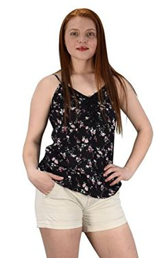 Blossoms Print Laced Neck line Spaghetti Strap Blouse Top Shirt Black Large