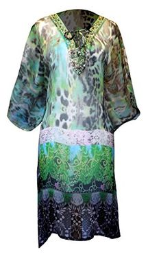 Multi Color Bohemian Embellished Neckline V neck Tie Dye Print Cover Up Swim Tunic Dress Large