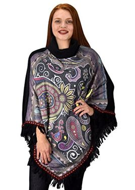 Peach Couture Bohemian Fashion Cowl Neck Winter Ponchos Sweaters Pullovers
