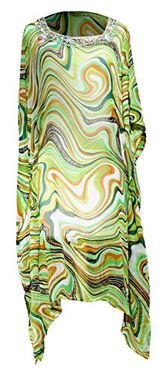 Multi Color Bohemian Jewel Neckline Scoop Neck Long Sleeve Beach Cover Up Summer Tunic Dress