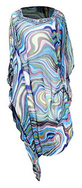 Multi Color Bohemian Jewel Neckline Scoop Neck Long Sleeve Beach Cover Up Summer Tunic Dress Medium