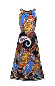 Bohemian Paisley Print Scoop Neckline Summer Halter Maxi dress Wooden Beaded Large