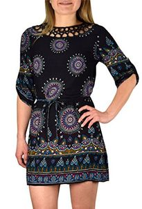 Black Purple Bohemian Paisley Waist Tie Classic Caftan Tunic Floral Mini Dress