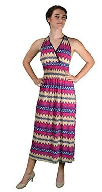 Pink Bohemian Sleeveless V Neck Halter Dress Smocked Waist Chevron Dress Maxi Dress