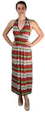 Red Bohemian Sleeveless V Neck Halter Dress Smocked Waist Chevron Dress Maxi Dress Medium