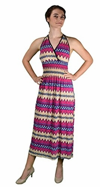 Pink Bohemian Sleeveless V Neck Halter Dress Summer dress Chevron Dress Maxi Dress (Medium)