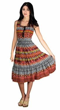 Orange Black Boho Dress Bohemian Dress Damask Print Neck Tie Sleeveless Summer Dress Tiered Calf Length Dress Large