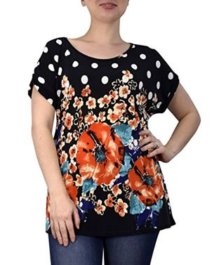 Boho Floral Print Light Weight Casual Summer Tops T Shirts Blouse (Large, Small)
