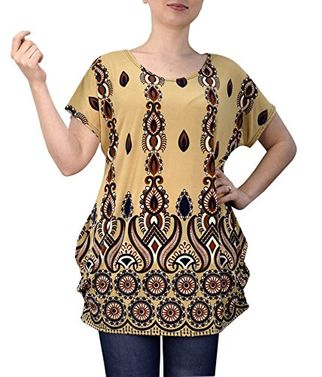 Peach Couture Boho Floral Print Light Weight Casual Summer Tops T Shirts Blouse Navy Tan