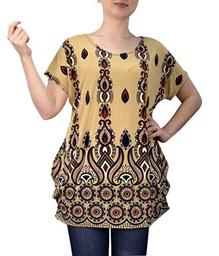Navy Tan Boho Floral Print Light Weight Casual Summer Tops T Shirts Blouse