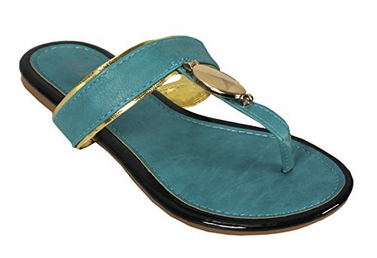 Teal Boho Gold Oval Lined Flat Flip Flop Summer Beach Sandals 5