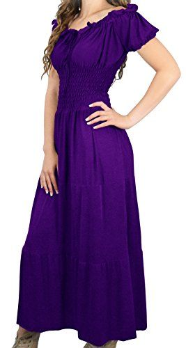 Peach Couture Boho Gypsy Cinched Waist Revival Long Dress with Cap sleeves (Purple, Medium)