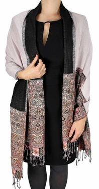 Light Pink Paisley Reversible Pashmina Shawl