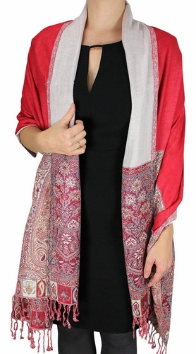Red Paisley Reversible Double Layer Pashmina Shawl