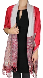 Boho Paisley Reversible Double Layer Pashmina Shawl (Red)