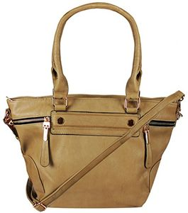 Brown PU Leather Womens Shoulder Bag Top-Handle Handbag