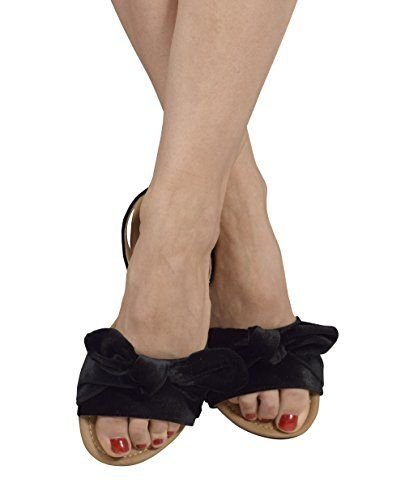 Peach Couture Bow Accent Womens Slides Sandals Flip Flops B(M) US
