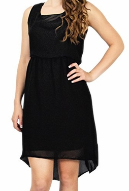 Black Bright & Bold Sleeveless Criss-Cross Waistline High-Low Dress (Medium)