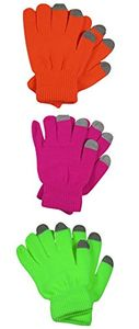 Bright Neon Texting Winter Gloves For iPhone iPad Android Any Touch Screen 3 Pack