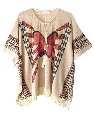 Peach Couture Butterfly Print Tasseled Light Weight Summer Cover up Cardigan