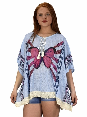 Peach Couture Butterfly Print Tasseled Light weight Summer Cover Up Cardigan Blue