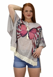 Grey Butterfly Print Tasseled Light weight Summer Cover Up Cardigan