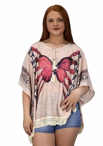 Pink Butterfly Print Tasseled Light weight Summer Cover Up Cardigan
