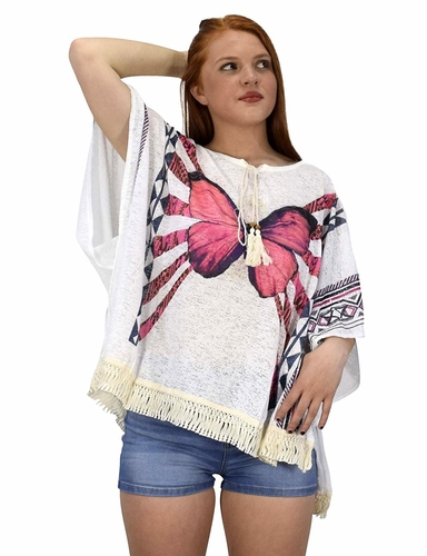 White Butterfly Print Tasseled Light weight Summer Cover Up Cardigan