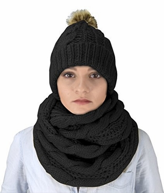 Cable Knit 2 Pair Faux Fur Beanie Hat and Infinity Loop Scarf Set Ebony