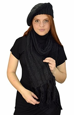 Cable Knit Beret Beanie Hat and Scarf Set