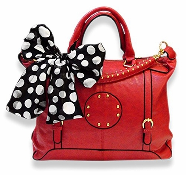 Red Oversized Metal Circle Design Tote Satchel Handbag Tied Scarf
