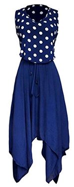 Navy Casual Fun Summer Polka Dot Print Asymmetrical Handkerchief Dress