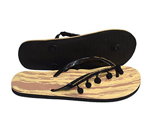 Casual Summer Bright Pom Pom Trim Beach Flip Flop Thong Sandal (5)