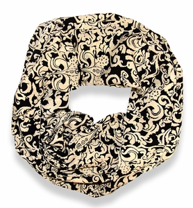 Peach Couture Chandelier Henna Print Infinity Loop Scarf (Black and Ivory)