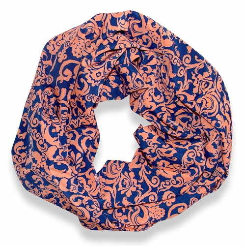 Peach Couture Chandelier Henna Print Infinity Loop Scarf (Cerulean and Peach)