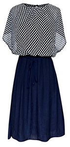 Navy Charming Polka Dot Key Hole Back Tunic Top and Skirt 2 in 1 Dress