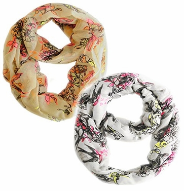 Cherry Blossom White and Peach Floral Infinity Scarf