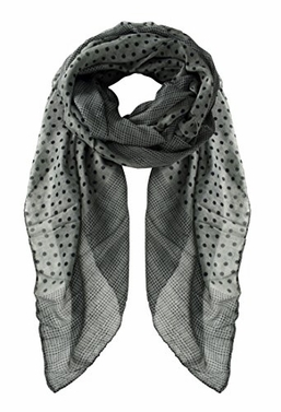 Grey Boho Soft Lightweight Polka Dot Bordered Sheer Scarf Shawl