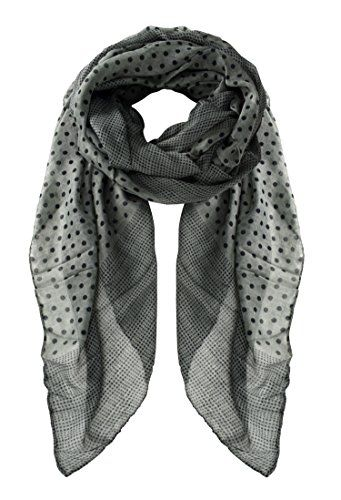Peach Couture Chic Boho Soft Lightweight Polka Dot Bordered Sheer Scarf Shawl (Grey)