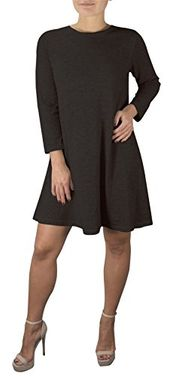 Black Fashion 3/4 Sleeve Scoop Neck T-Shirt Dress