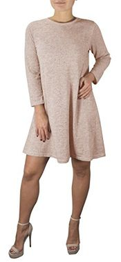3/4 Sleeve Scoop Neck T-Shirt Dress Blush Medium