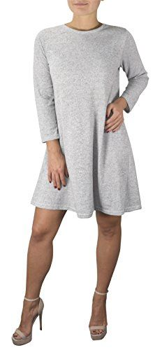 Grey 3/4 Sleeve Scoop Neck T-Shirt Dress X-Large