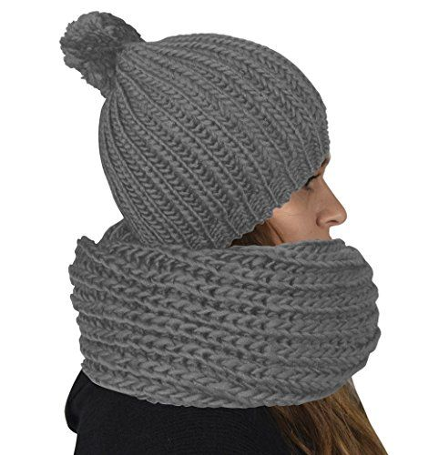 Knit 2 Pair Faux Fur Beanie Hat and Infinity Loop Scarf Set