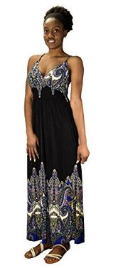 Cinched Waist Sleeveless Paisley Cocktail Vintage Maxi Dress