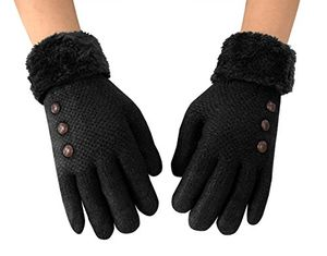 Classic Cable Knit Plush Fleece Lined Double Layer Winter Gloves (One Size, 06)