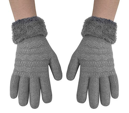 Classic Cable Knit Plush Fleece Lined Double Layer Winter Gloves (One Size)