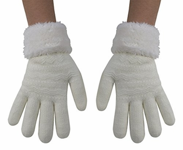 Cream Classic Cable Knit Plush Fleece Lined Double Layer Winter Gloves (One Size,05)